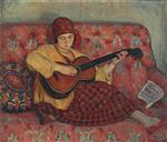 Henri Lebasque  - Bilder Gemälde - Young girl with guitar