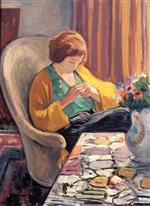 Henri Lebasque  - Bilder Gemälde - Young Woman in an Interior