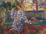 Henri Lebasque  - Bilder Gemälde - Young woman seated on a bench