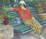 Henri Lebasque  - Bilder Gemälde - Young woman seated with hydrangeas