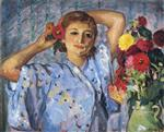 Henri Lebasque  - Bilder Gemälde - Young Woman with Flowers