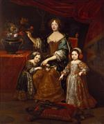 Pierre Mignard - Bilder Gemälde - Elizabeth Charlotte with son and daughter