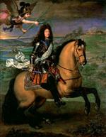 Pierre Mignard - Bilder Gemälde - Equestrian Portrait of Louis XIV Crowned by Victory