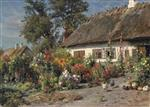 Peder Mønsted - Bilder Gemälde - A Cottage Garden with Chickens