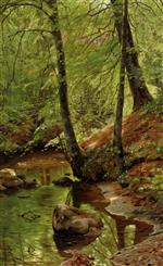 Peder Mønsted - Bilder Gemälde - A Forest Stream