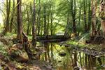 Peder Mønsted - Bilder Gemälde - A Stream in the Forest