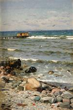 Peder Mønsted - Bilder Gemälde - Am Strand