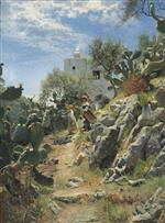 Peder Mønsted - Bilder Gemälde - At Noon on a Cactus Plantation in Capri