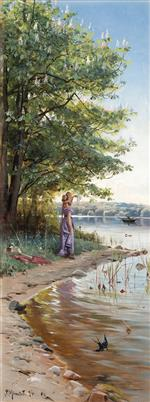 Peder Mønsted - Bilder Gemälde - By the Lake Esrum in Fredensborg