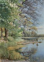 Peder Mønsted - Bilder Gemälde - Fishing on the Lake