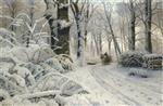 Peder Mønsted - Bilder Gemälde - Forest in Winter