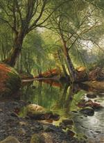 Peder Mønsted - Bilder Gemälde - Forest Stream