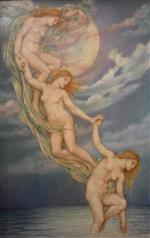 Evelyn De Morgan - Bilder Gemälde - Moonbeams Dipping into the Sea