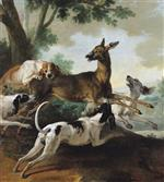 Jean Baptiste Oudry - Bilder Gemälde - A Deer Chased by Dogs