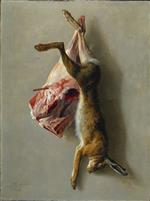 Jean Baptiste Oudry - Bilder Gemälde - A Hare and a Leg of Lamb
