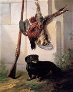Jean Baptiste Oudry - Bilder Gemälde - Hound with Gun and Dead Game