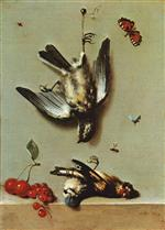 Jean Baptiste Oudry - Bilder Gemälde - Still Life of Dead Birds and Cherries