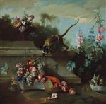 Jean Baptiste Oudry  - Bilder Gemälde - Still Life with Monkey, Fruit and Flowers