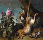 Jean Baptiste Oudry  - Bilder Gemälde - Still Life with Partridge, Hare and Hollyhocks