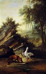 Jean Baptiste Oudry  - Bilder Gemälde - The Fox and the Stork