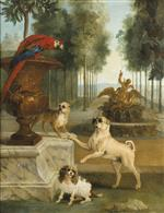 Jean Baptiste Oudry  - Bilder Gemälde - Three Dogs and a Parrot in the Park