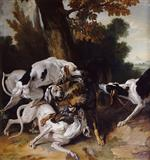 Jean Baptiste Oudry  - Bilder Gemälde - To the Death of the Wolf