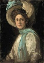 John Lavery - Bilder Gemälde - A Lady in Blue and White