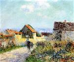 Gustave Loiseau - Bilder Gemälde - A Cart in the Village