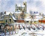Gustave Loiseau - Bilder Gemälde - Auxerres in the Snow
