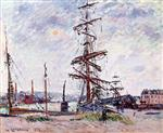 Gustave Loiseau - Bilder Gemälde - Boats at Dock in Le Havre