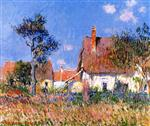 Gustave Loiseau  - Bilder Gemälde - Cottages in Normandy