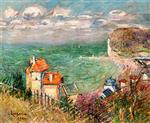 Gustave Loiseau  - Bilder Gemälde - Houses at the Foot of the Cliffs, Fécamp