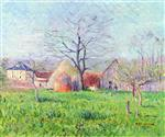 Gustave Loiseau  - Bilder Gemälde - Meadow at the Entrance to a Village