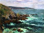 Gustave Loiseau  - Bilder Gemälde - Rock cliffs by the sea in Britany