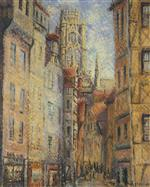 Gustave Loiseau  - Bilder Gemälde - Rouen, a Street by the Church