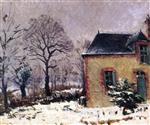 Gustave Loiseau  - Bilder Gemälde - Rustic House by the River in the Snow