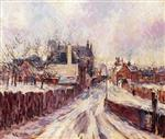 Gustave Loiseau  - Bilder Gemälde - The Entrance to the Village of Mortain in the Snow