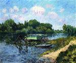 Gustave Loiseau  - Bilder Gemälde - The Laundry Boat on the Seine at Herblay