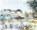 Gustave Loiseau  - Bilder Gemälde - The Loing at Moret, the Effect of Snow