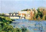 Gustave Loiseau  - Bilder Gemälde - View of a Town in the Sun from across the River