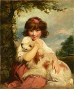 Joshua Reynolds - Bilder Gemälde - A Young Girl and her Dog