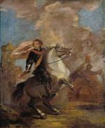 Joshua Reynolds - Bilder Gemälde - An Officer on Horseback
