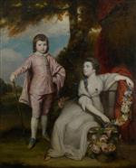Joshua Reynolds  - Bilder Gemälde - George Cape, Viscount Malden and Lady Elizabeth Capel