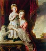 Joshua Reynolds  - Bilder Gemälde - Georgiana, Countess Spencer with Lady Georgiana Spencer