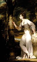 Joshua Reynolds  - Bilder Gemälde - Joanna Leigh, Mrs Richard Bennett Lloyd, Inscribing a Tree