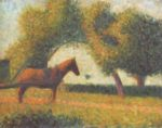 Georges Seurat - paintings - Horse in a Field