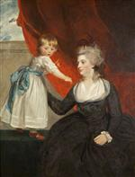 Joshua Reynolds  - Bilder Gemälde - The Honourable Frances Courtenay, Lady Honywood and her Daughter