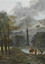 Bild:A Mountainous Landscape with an Obelisk