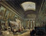 Hubert Robert - Bilder Gemälde - A Museum Gallery with Ancient Roman Art