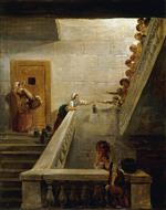 Hubert Robert - Bilder Gemälde - Distributing Milk at St. Lazare Prison